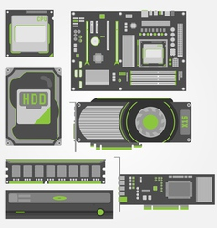 Stylish Simple Computer Parts vector image