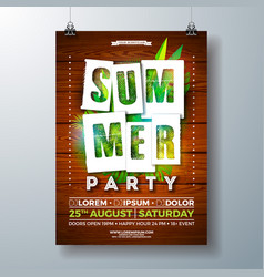 Summerparty flyer design with tropical palm vector