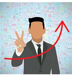 Template design Businessman Holds two fingers idea vector
