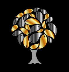 Tree with gold and silver leaves vector