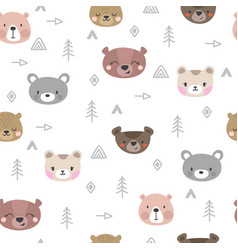 Tribal seamless pattern with cartoon bears vector