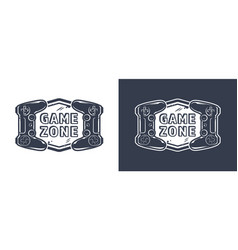Vintage monochrome game zone logotype vector