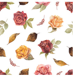 Watercolor autumn seamless pattern with vector