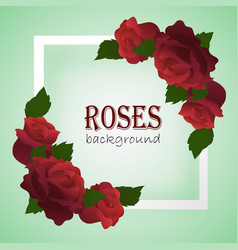white frame with branches of roses on the corners vector image