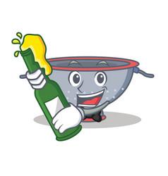 With beer colander utensil character cartoon vector