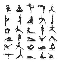 Yoga postures exercises set vector