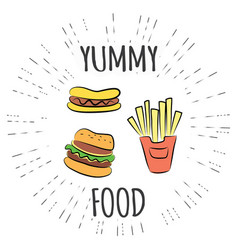 Yummy fast food vintage label in hipster style vector