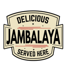 delicious jambalaya label or icon vector image