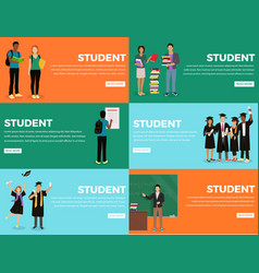 student everyday life process colourful web banner vector image vector image