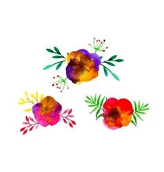 Watercolor Leaves Colored Icon Set vector image