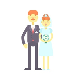 Wedding couple flat characters groom and bride vector