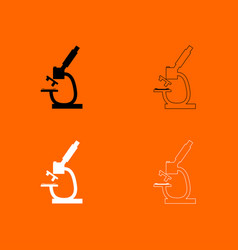 microscope black and white set icon vector image vector image
