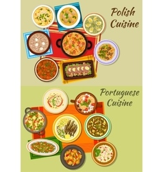 Portuguese and polish cuisine icon for food design vector image vector image