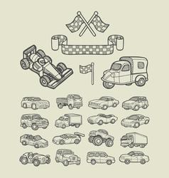 Car icons sketch vector image vector image