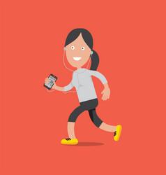 female running with smartphone vector image vector image