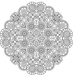 floral lace style round decorative element vector image vector image