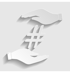 Hashtag sign Paper style icon vector image vector image
