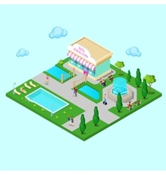 Isometric City Park with Fountain vector image