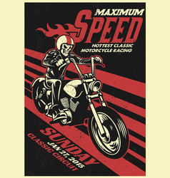 motorbike racing event poster in vintage style vector image vector image