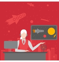 Office of future travel agency Female character vector image vector image