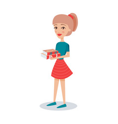 pretty student girl standing and holding books in vector image vector image