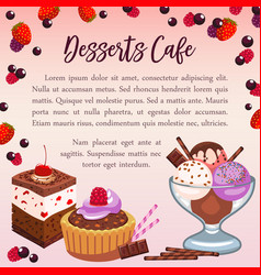 bakery desserts poster for cafe vector image vector image