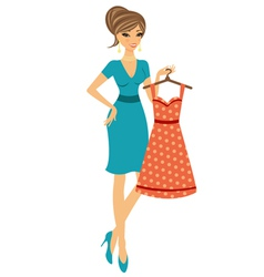 Beautiful woman shopping for dress vector image vector image