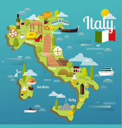 colorful italy travel map with attraction symbols vector image