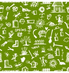 Garden tools sketch seamless pattern for your vector image