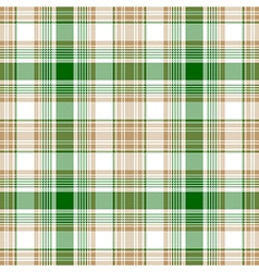 Green gold white check fabric texture seamless vector image