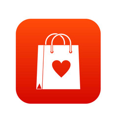 shopping bag icon digital red vector image vector image