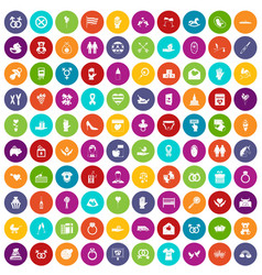 100 love icons set color vector