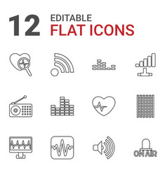 12 wave icons vector