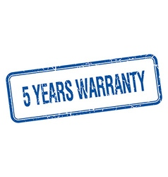 5 years warranty blue square grungy vintage vector
