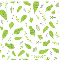 Abstract seamless pattern with cute green leaves vector
