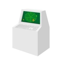 Airport air traffic control radar cartoon icon vector image