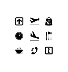 Airport black icons vector image