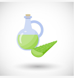 Aloe vera gel with plant flat icon vector