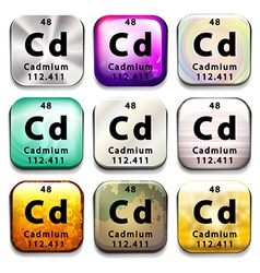 An icon showing the element cadmium vector
