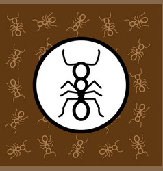 ant icon sign and symbol on brown background vector image