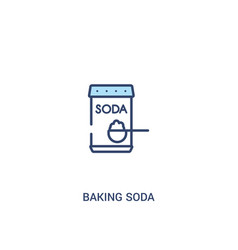 Baking soda concept 2 colored icon simple line vector
