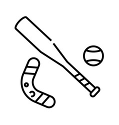 baseball bat line icon concept sign outline vector image