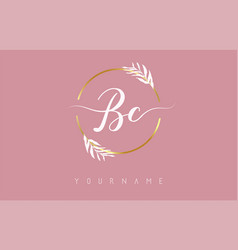 Bc b c letters logo design with golden circle vector