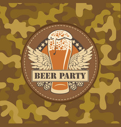 beer party label on a camouflage background vector image