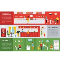 Best and Hot Pizza Menu flat concept web vector image