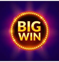 Big Win glowing banner for online casino slot vector