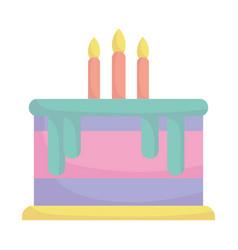 birthday cake with candles celebration cartoon vector image
