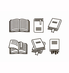 book set collection of line sketch vector image