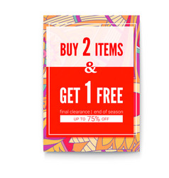 Buy two things one get for free sales poster on vector