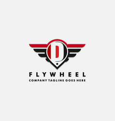 Cars logo wheel and wings with letter d vector